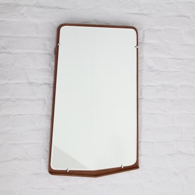 Scandinavian freeform shaped teak mirror