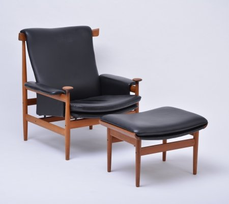 Black leather Bwana Model 152 Easy Chair with foot stool by Finn Juhl