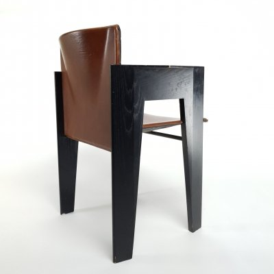 Postmodern sculptural leather & wood set of chairs by Arco, 1990s