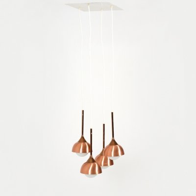 1970s Modern Hanging Lamp in Copper & Glass