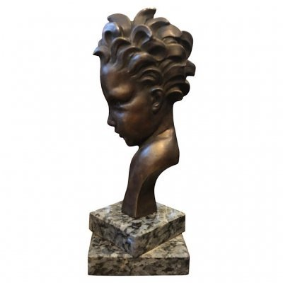 Art Deco Bronze Child Face Sculpture, Italy circa 1930