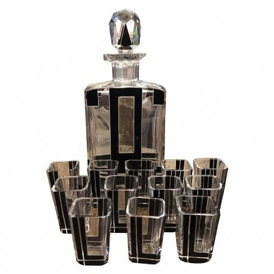Art Deco Black & White Glass Italian Liquor Set, circa 1930