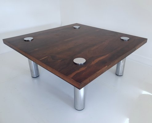 Rosewood & Chrome Side Table by Tim Bates for Pieff, England c.1970
