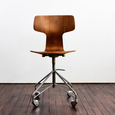 Height adjustable Hammer 3103 office chair in teak by Arne Jacobsen for Fritz Hansen, 1960s
