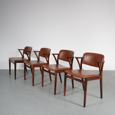 1950s Rosewood Dutch dining chairs by Kai Kristiansen for Bovenkamp