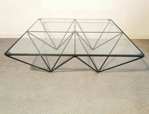 Glass & metal coffee table, 1980s