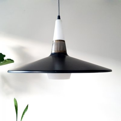 Rare Holm Sørensen ceiling pendant in bronze, glass & metal
