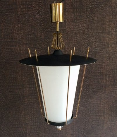 Large Hanging Lantern Pendant Lamp by Maison Arlus, France 1950's