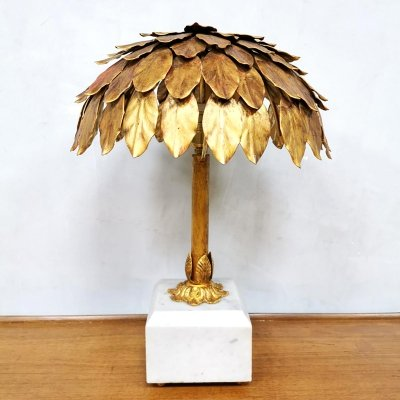 Midcentury design gold gilded 'Palm tree' table lamp