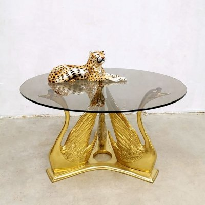 Vintage brass Swan coffee table / side table
