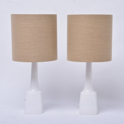 Pair of white vintage ceramic table lamps model 941 by Soholm