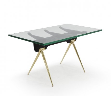 Green nile glass & brass coffee table by Gianni Vigorelli, 1950s