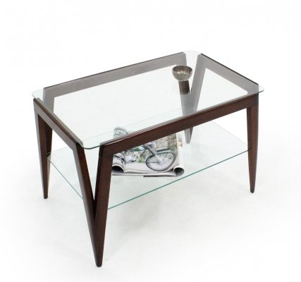 Italian double shelf glass vintage coffee table by Augusto Romano, 1950s
