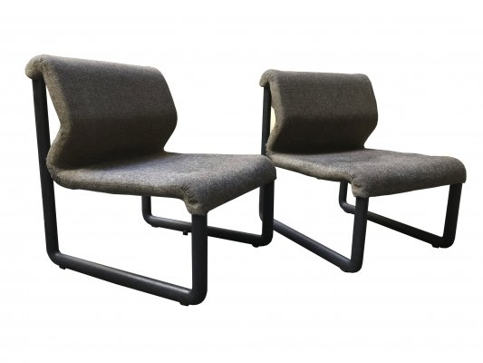 Unusual pair of armchairs with rubber structure & grey fabric covering, 1970s
