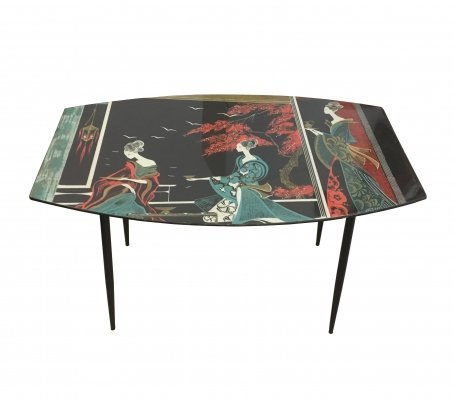 1950's Coffee table with metal feet & top decorated with oriental motifs