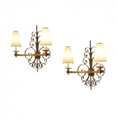 Pair of French Art Deco Brass Sconces, 1930s