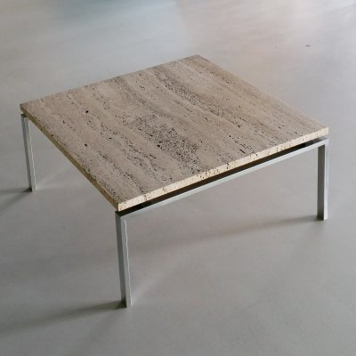 Travertine & Stainless Steel Coffee Table, 1960s