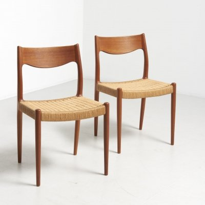 Pair dining chairs with papercord seats, 1960s