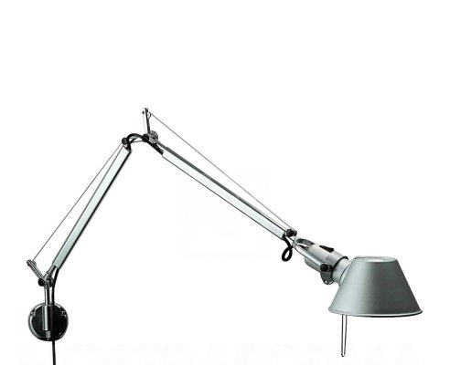 Artemide Tolomeo Micro Wall Light with J Bracket in Aluminum