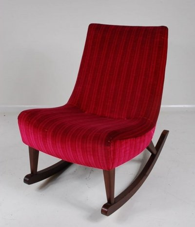 1950s Rocking Chair With red velvet upholstery & wooden base