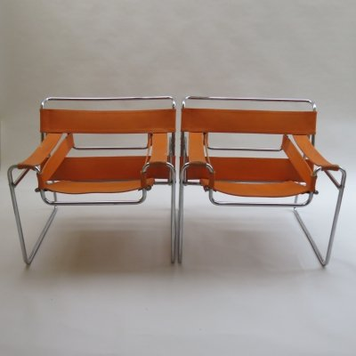 B3 Wassily chair in orange Canvas by Marcel Breuer for Gavina, 1960s