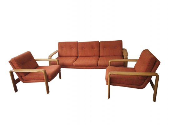 Oak Sofa & armchairs with orange velvet
