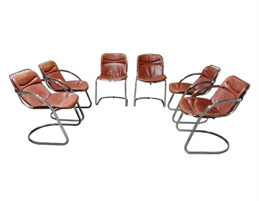 Set of 6 Dining chairs by Gastone Rinaldi, 1970s