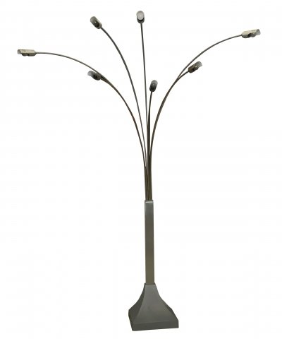 Seven Arms Brass & Metal Floor Lamp by LAM Bologna, 1970's