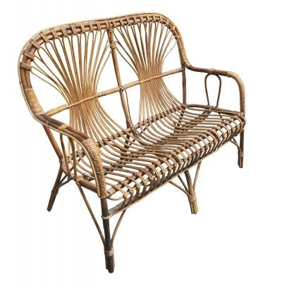 Rattan Two-Seat Patio Sofa / Bench, 1950s