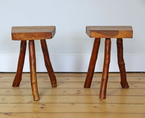 Pair of Rustic French Stools, 1960s