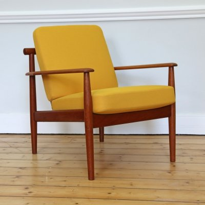 Danish Model Armchair in yellow by Grete Jalk & Finn Juhl for France & Son, 1950s