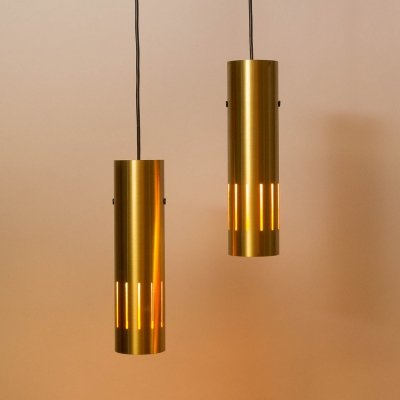 Pair of Trombone Pendants by Jo Hammerborg for Fog & Mørup, Denmark 1960s