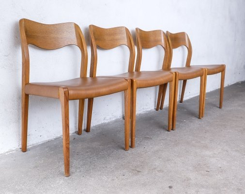 Set of 4 Teak & Skai Model 71 Dining Chairs by Niels O. Møller, 1970s