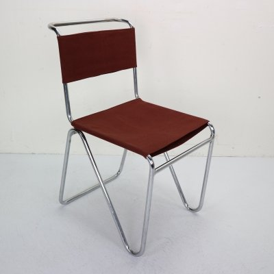 Red Canvas Diagonal Industrial Chair 102 by W.H. Gispen for Gispen, 1930s