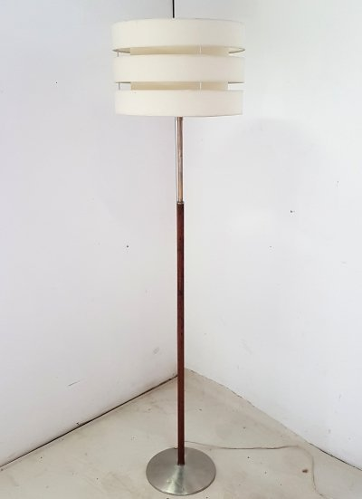 Danish modern wood & metal floor lamp, 1960s