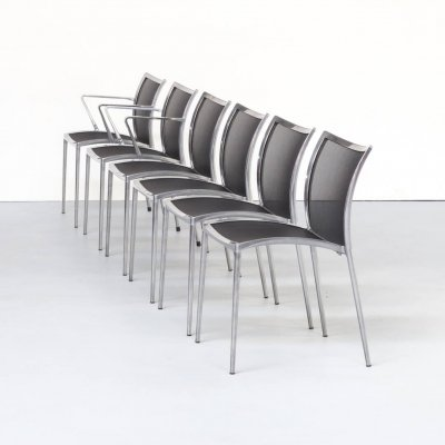 Set of 6 aluminium & netwaeve dining chairs for Zanotta, 1980s