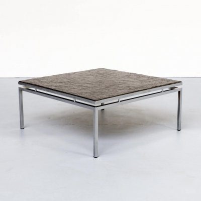 80s square chromed metal framed coffee table with slate worktop