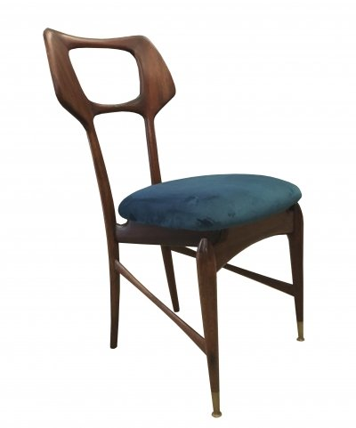 1950's Elegant mahogany chair with green fabric seat & brass terminals