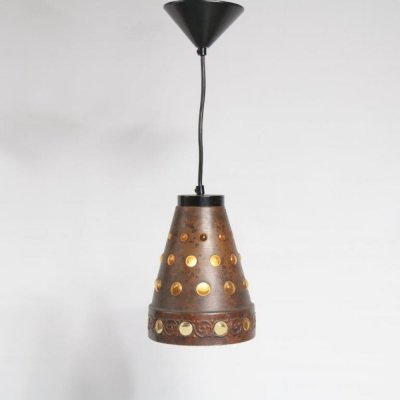1960s Glass with copper hanging lamp manufactured by Peill + Putzler in Germany
