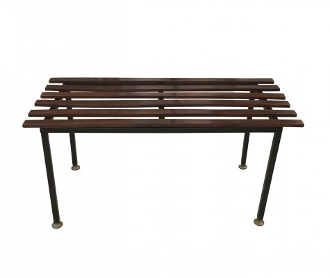 1960's Small wooden bench with metal feet & brass terminals
