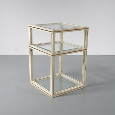 Brass double-top side table by Pierre Vandel, Paris 1970s