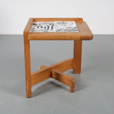 Oak with tiles side table by Guillerme & Chambron, France 1960s