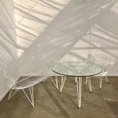 Rare vintage garden sofa, chairs & table by Mauser, 1950s