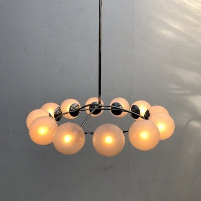 Large vintage pendant / chandelier with 12 lights, 1970s