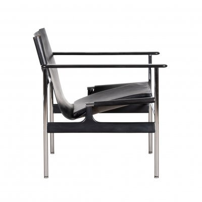 Charles Pollock 'Model 657' arm chair in black leather