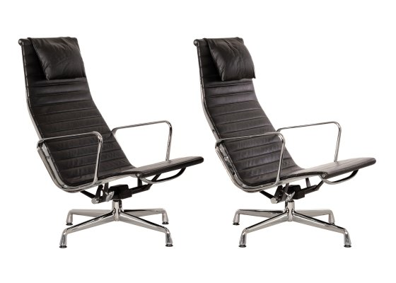 Eames EA124 lounge chairs in black leather, 1990s