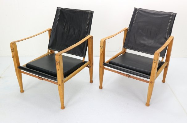 Pair of Black Leather 'Safari' Armchairs by Kaare Klint, Denmark