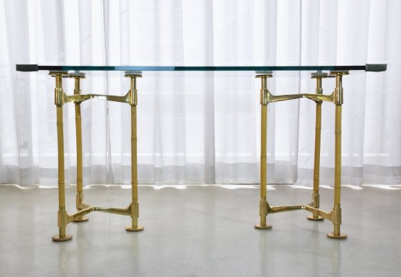20th Century Italian Vintage Brass Bamboo Desk, 1970s