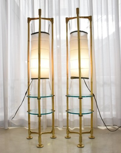 Two Italian Vintage Brass Bamboo Floor Lamps, 1970s