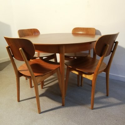Cees Braakman for Pastoe SB11 / TB05 Dining set with 6 chairs, 1950s